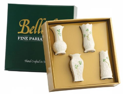 Belleek China Set of Four Mini Vases